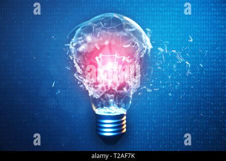 3D-Illustration explodierende Glühbirne auf einem blauen Hintergrund, mit Konzept kreatives Denken und innovative Lösungen. Rotes Leuchten in der Mitte Konzept Vir - Stockfoto