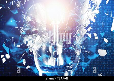 3D-Illustration explodierende Glühbirne auf einem blauen Hintergrund, Konzept kreatives Denken und innovative Lösungen. Netzwerkverbindung Linien und Punkten. Inno - Stockfoto