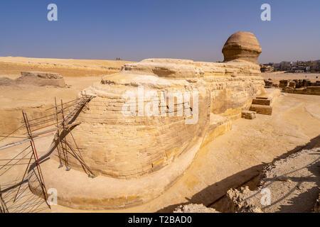 Große Sphinx von Gizeh von der Rückseite. Ungewöhnliche View Point - Stockfoto