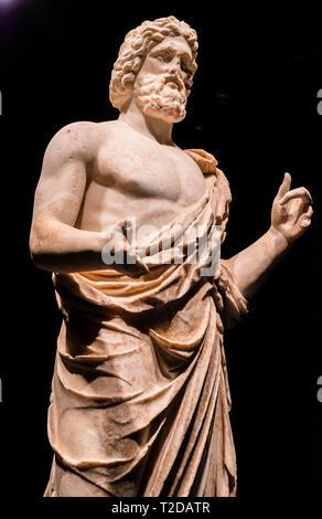 Archäologische Zone der Ruinen von Ampurias, Asklepios Statue, Girona, Spanien, Europa. - Stockfoto