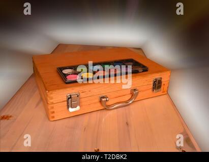 Holz- Ölfarbe kit - Stockfoto