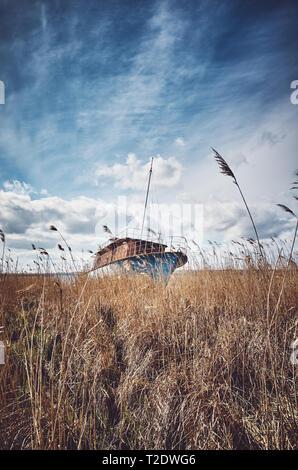 Retro getonten Bild von einem Schiffswrack im Schilf. - Stockfoto