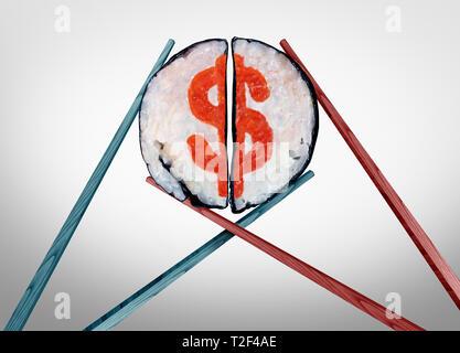 Essen Kosten und Ausgaben für Restaurants als Essstäbchen zusammen kommen, als ein Paar mit Sushi als Dollarzeichen Symbol und Service Industrie geprägt. - Stockfoto
