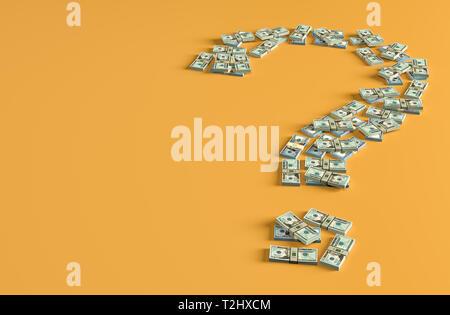 Fragezeichen von Dollarnoten - 3D Rendering gemacht - Stockfoto