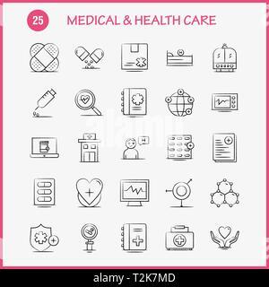 Gesundheits- und Krankenpflege Hand gezeichnet Symbol für Web, Print und Mobile UX/UI-Kit. Wie z.b.: Medizinische, Datei, Bericht, Krankenhaus, Forschung, Medizin, Herz, Beat, - Stockfoto