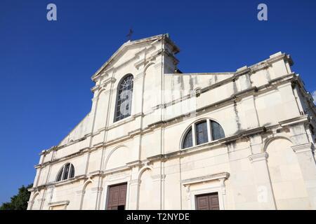 Kroatien - Rovinj auf der Halbinsel Istrien. Barocke Kirche der hl. Euphemia's Basilika. - Stockfoto