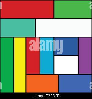 Einfache editierbare abstrakte Rechtecke bunte Vektor Hintergrund - Stockfoto