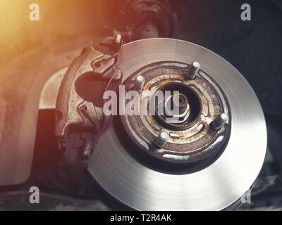 Auto Bremsscheibe ohne Räder closeup - Stockfoto
