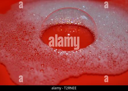 Hintergrund einer Nahaufnahme von Seife Schaum blasen - Stockfoto