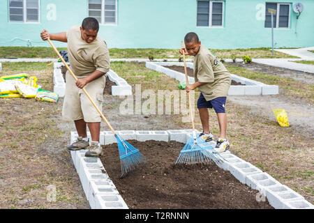 Florida, FL, Süd, Miami, Liberty City, Platz, öffentliche Gehäuse, Zeremonie, Widmung, Gemeinschaftsgarten, Grundstück, Zuteilung, städtisch, Gartenarbeit, grüne bewegen Stockfoto