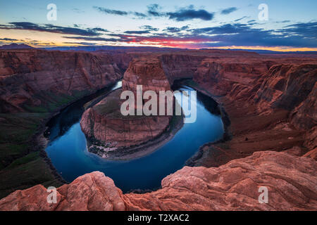Horseshoe Bend in Colorado River in der Nähe von Page, Arizona, USA - Stockfoto