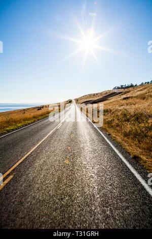 Einem sonnigen Sommernachmittag auf Rinder Point Road, San Juan Island, Washington, USA. - Stockfoto