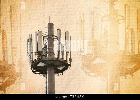 Fotomontage, Mast, 101-5337, Sendemast - Stockfoto