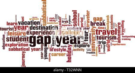 Gap Year cloud Konzept. Collage aus Worte über gap year. Vector Illustration - Stockfoto