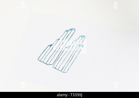 Die handgefertigten Zeichnung einer Grafik auf dem Quadrat Blatt - Stockfoto