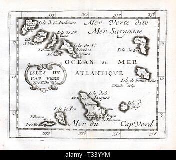 Antike Karte der Kapverdischen Inseln und der Sargassosee von Pierre Duval, in Paris veröffentlicht, 1682 - Stockfoto