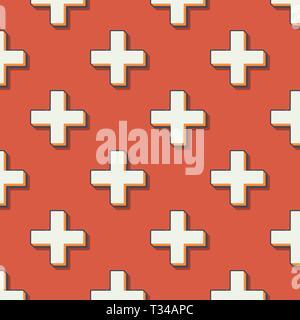 Retro kreuze Muster, abstrakten geometrischen Hintergrund in den 80er, 90er Jahre Stil. Geometrische einfache Illustration - Stockfoto