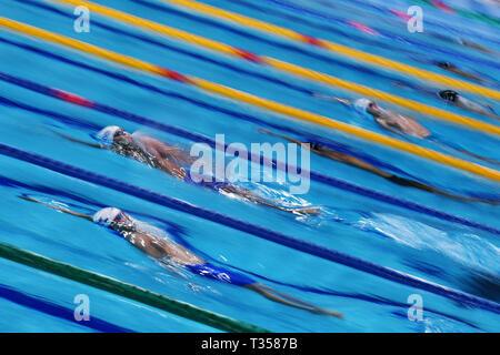 Ambiente Schuß, 6. APRIL 2019 - Schwimmen: Japan Japan schwimmen schwimmen Meisterschaften (2019) Männer 200 m Ruecken Halbfinale International Swimming Centre, Tokyo, Japan. Credit: MATSUO. K/LBA SPORT/Alamy leben Nachrichten - Stockfoto