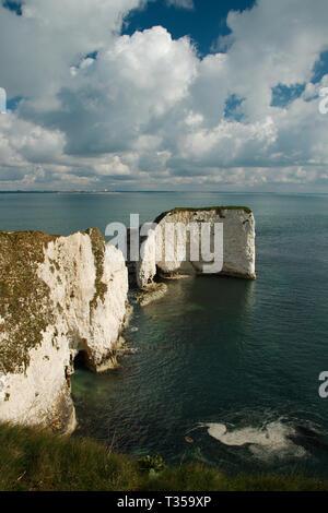 Old Harry Rocks, an der Küste von Dorset in Großbritannien. Im Hochformat. - Stockfoto