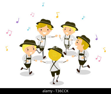 Abbildung: Stickman Kinder in Kostümen tanzen Schuhplattler mit Noten um - Stockfoto