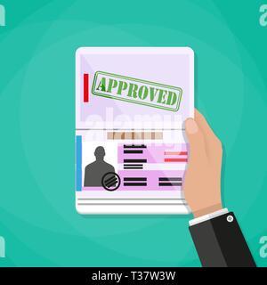 Hand, die internationalen Reisepass mit Foto, Stempel und Visum. travel Concept. Vector Illustration im flachen Stil auf grünem Hintergrund - Stockfoto