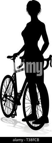 Frau Bike Radfahrer Reiten Fahrrad Silhouette - Stockfoto