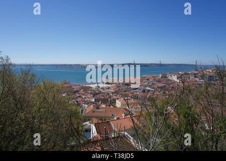 Aussicht auf die Dächer, Hängebrücke über den Fluss und Platz im Zentrum von Lissabon Castelo de Sao Jorge unter einem klaren blauen Himmel mit Kopie Raum - Stockfoto