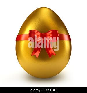 Einzelne goldene Ei mit rotem Band und Bogen - 3D-Rendering - Stockfoto
