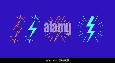 Icon Set von Blitz Flash. Vector Illustration Zickzack durch Funken umgeben Blitz. Stromschlag-kostenlos. Isolierte Umrisse und füllen Zeichen Stockfoto