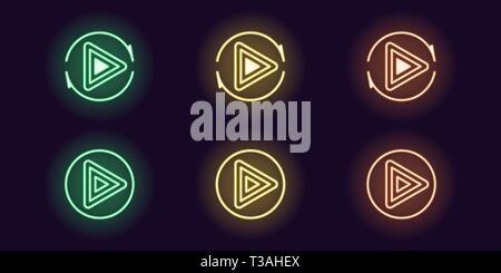 Neon Icon Set der Play-Taste. Vector Illustration des Runde Spielen Neon Sign mit sich wiederholenden runden Pfeil. Leuchtende Umrisse Symbol isoliert, das Symbol. U - Stockfoto