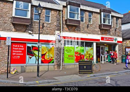 Spar Supermarkt in der Hohen Straße im Dorf von Llandaff., Cardiff, Wales - Stockfoto