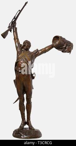 """Charles-Edouard Richefeu (1868 - 1945), eine Bronzeskulptur """"Vive l'Empereur' Fuß Grenadier der Garde Imperiale (Erste Reich) mit ausgestreckten Armen, eine Muskete in seiner rechten Hand (abnehmbar) und eine Bärenfellmütze hat in seiner Linken. Die Signatur des Künstlers"""" Ch. Richefeu' ist auf der Basis. Gießerei hat der usse Frères"""" in Paris. Höhe 100 cm. Charles-Edouard Richefeu studierte unter D. Puech und 1904 wurde er Mitglied der französischen Künstler Gesellschaft und regelmäßig im Salon des Artistes Francais ausgestellt. Beeindruckende Figur aus Bronze mit eine schöne dunkle Patina, Additional-Rights - Clearance-Info - Not-Available - Stockfoto"""
