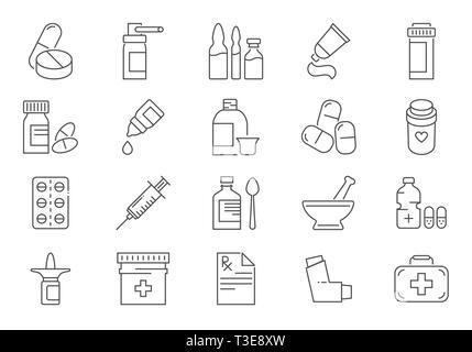 Reihe von Medikamenten Vektor Zeile für Symbole. Enthält solche Ikonen wie Pillen, Spray, Spritze, Erste Hilfe, Gel, Rezept, Sirup, Pillen Rohr, Zahnpasta, Kapsel, - Stockfoto