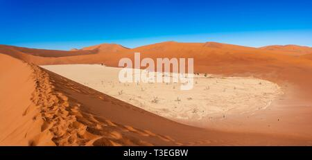 Deadvlei, Sossusvlei ist ein Salz und clay Pan von hohen roten Sanddünen in der Namib Wüste umgeben, in den Namib-Naukluft-Nationalpark, Namibia.