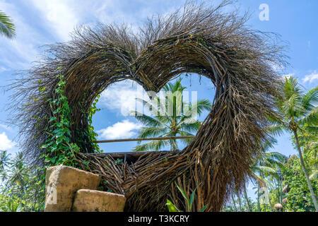 Ein vogelnest Recreation Area in der Form eines Herzens in der Nähe der Reisterrassen in Insel Bali, Indonesien. Natur und Travel Concept - Stockfoto
