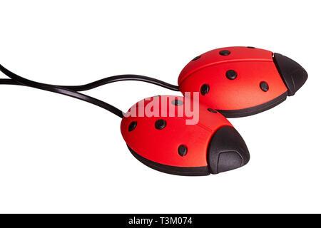 Elektrische uv-schuhtrockner auf weißem Hintergrund. Elektrischer Schuhtrockner in Form von ladybird - Stockfoto