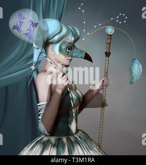 Sternzeichen - Fische als Maskerade Frau mit Angelrute und ein Ballon - Stockfoto