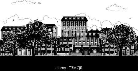 Häuser im viktorianischen Georgischen Silhouetten Zeile Straße - Stockfoto