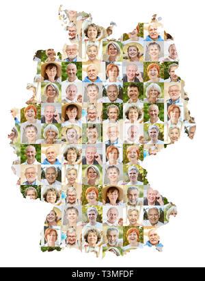Senioren portrait Collage auf der Karte als Konzept für Alter, Gesellschaft, Pension und Gemeinschaft - Stockfoto