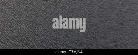 Leder schwarz Farbe Textur. Farbe: schwarz Leder Hintergrund, Banner, Detailansicht mit Details - Stockfoto