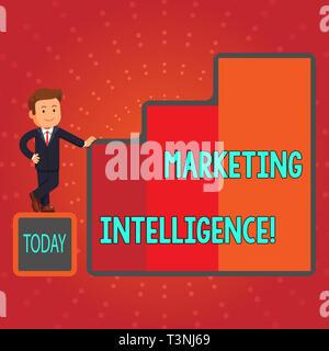Schreiben Hinweis anzeigen Marketing Intelligence. Business Konzept für Business Analytics Tool, analysiert Daten Geschäftsmann präsentiert Wachstum ein - Stockfoto