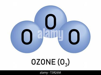 Ozon O3 Trioxygen Molekülmodell Und Chemische Formel