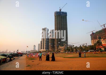 Das Galle Face Green Park an der Küste von Colombo, der Hauptstadt Sri Lankas. - Stockfoto