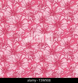 Romantischen Rosa Nahtlose Muster für Valentines Tag Urlaub Geschenkpapier Design. Vektor Feminine geblümten Tapeten Vorlage mit Helenium Autumnale Blume - Stockfoto
