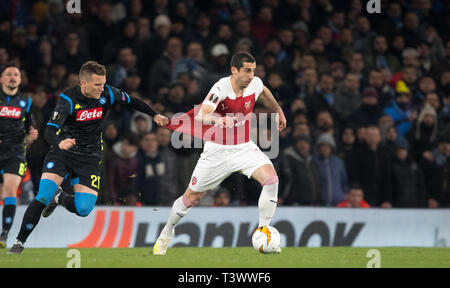 London, Großbritannien. 11 Apr, 2019. Während der UEFA Europa League Spiel zwischen Arsenal und S.S.C Napoli im Emirates Stadium, London, England am 11. April 2019. Foto von Andy Rowland. Credit: PRiME Media Images/Alamy leben Nachrichten - Stockfoto