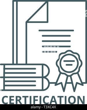 Zertifizierung Symbol Leitung, Vektor. Zertifizierung Überblick Zeichen, Symbol, Abbildung - Stockfoto