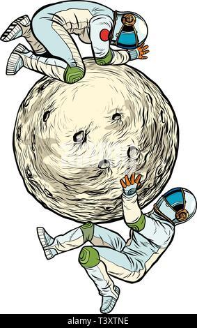 Astronauten auf dem Mond, Raumfahrt. Solat auf weißem Hintergrund. Pop Art retro Vektor Illustration kitsch Vintage - Stockfoto
