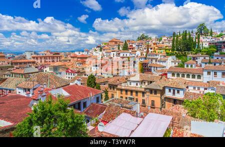 Blick auf den mittelalterlichen Albaicin Viertel von Granada, Andalusien, Spanien. - Stockfoto