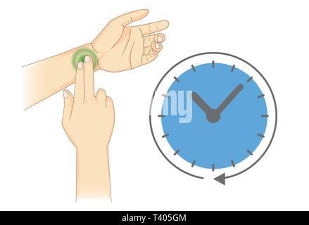 Verwenden Sie zwei Finger radial Pulse mit Symbol Zeit zu prüfen. - Stockfoto