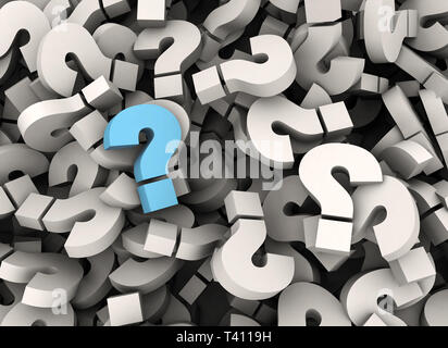 Einzelne blaue Fragezeichen stehen heraus - 3d-Business Konzept - Stockfoto